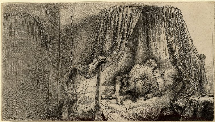 Rembrandt drypoint couple making love