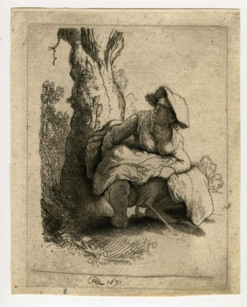 Rembrandt etching woman peeing