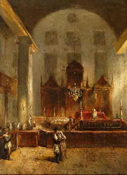 Esnoga Interieur-Van-De-Portugese-Synagoge-In-Amsterdam Jean-Baptist Tetar Van Elven